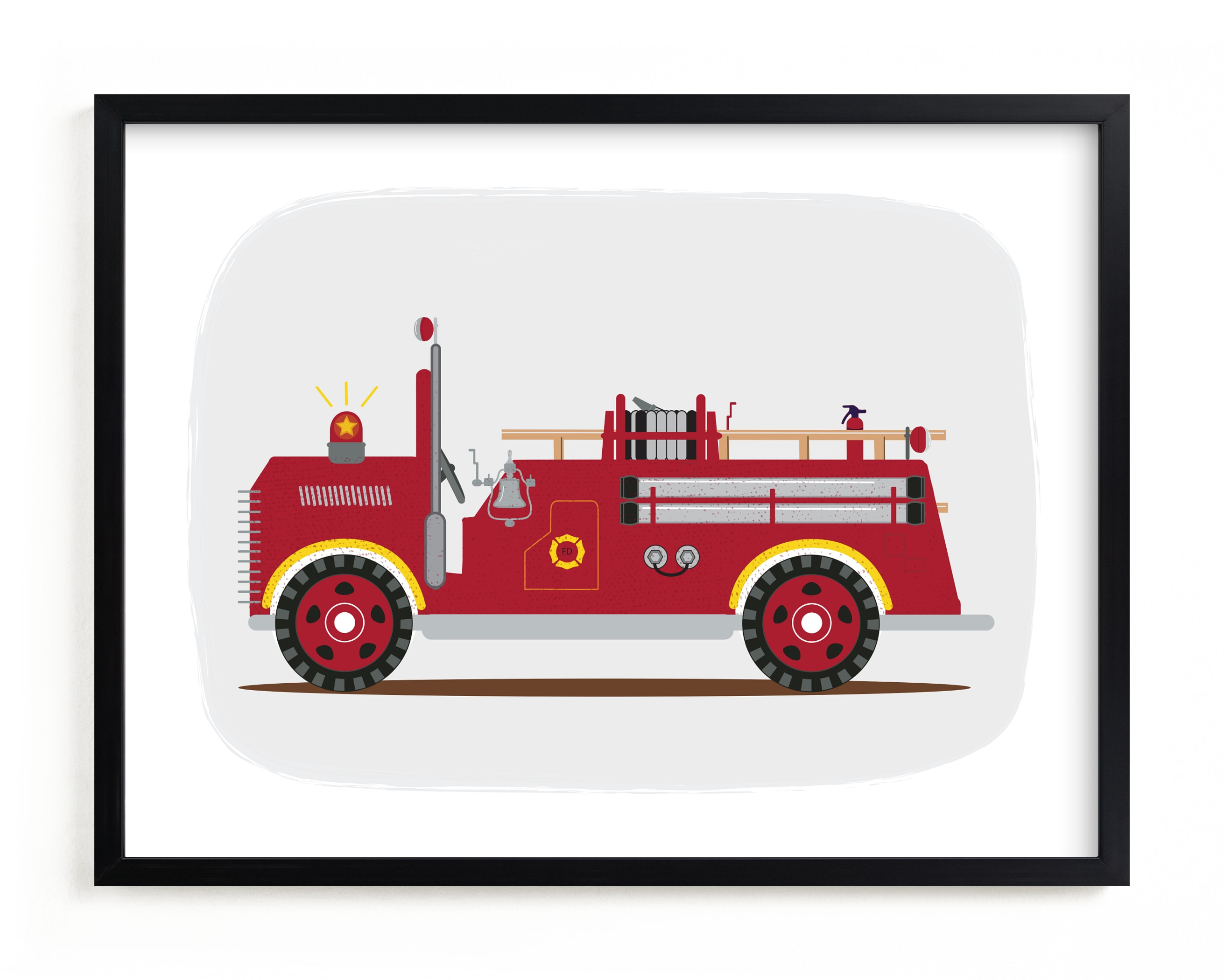 This is a yellow kids wall art by Rebecca Marchese called Red Fire Truck #2.