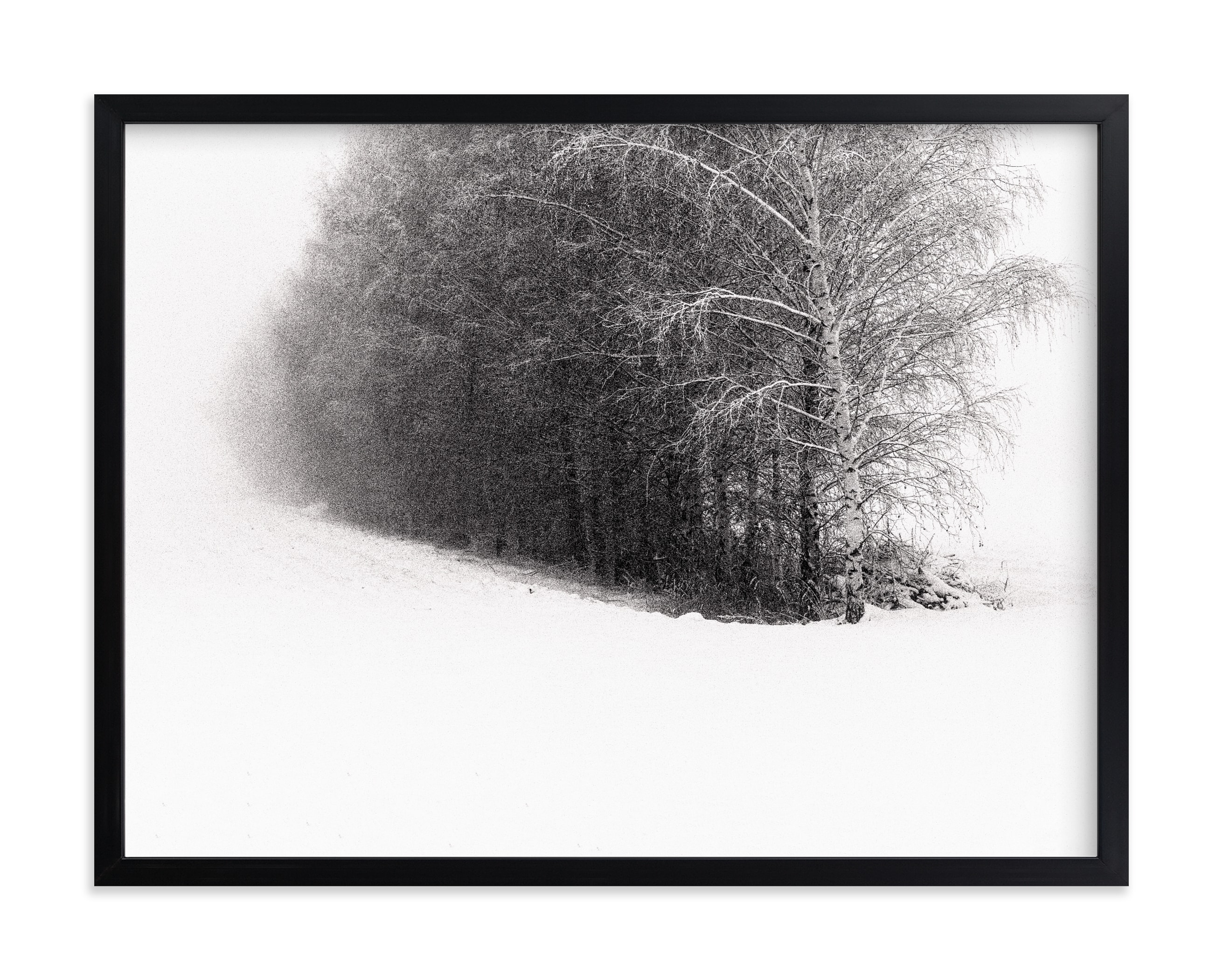 """SNOW ROAD II"" by Lying on the grass in beautiful frame options and a variety of sizes."