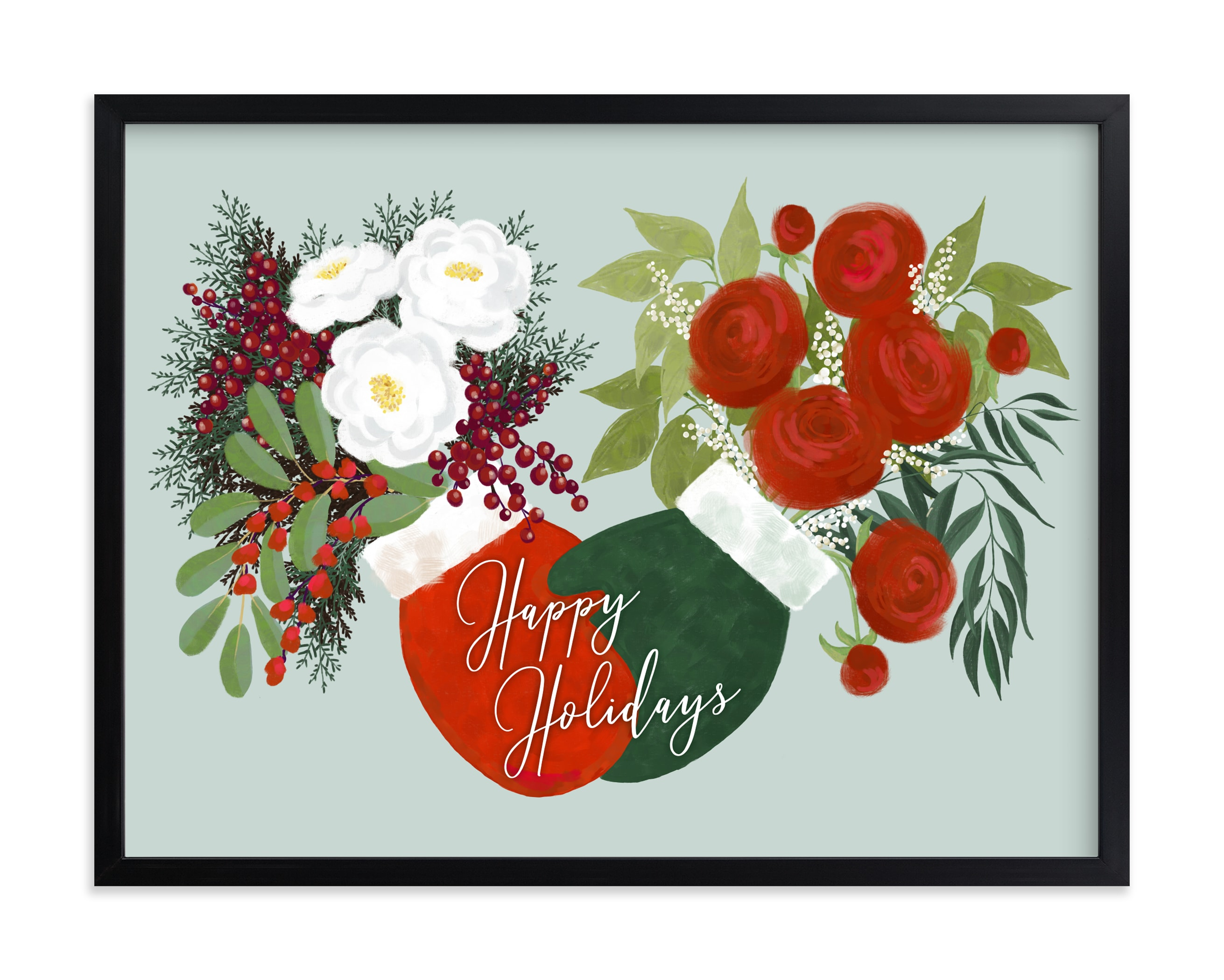 """""""Floral holiday mittens"""" by Rosana Laiz Blursbyai in beautiful frame options and a variety of sizes."""