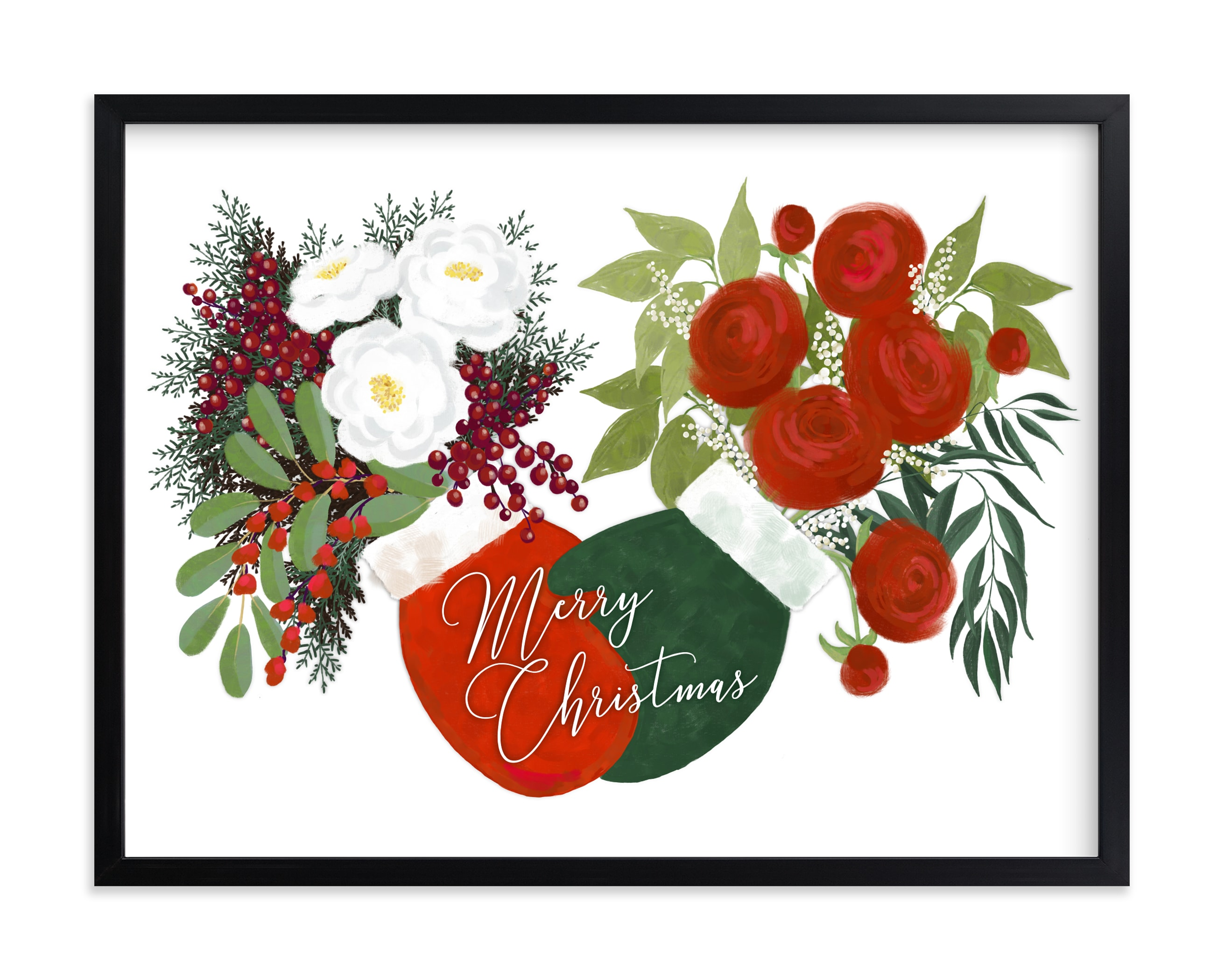 """""""Christmas floral mittens"""" by Rosana Laiz Blursbyai in beautiful frame options and a variety of sizes."""