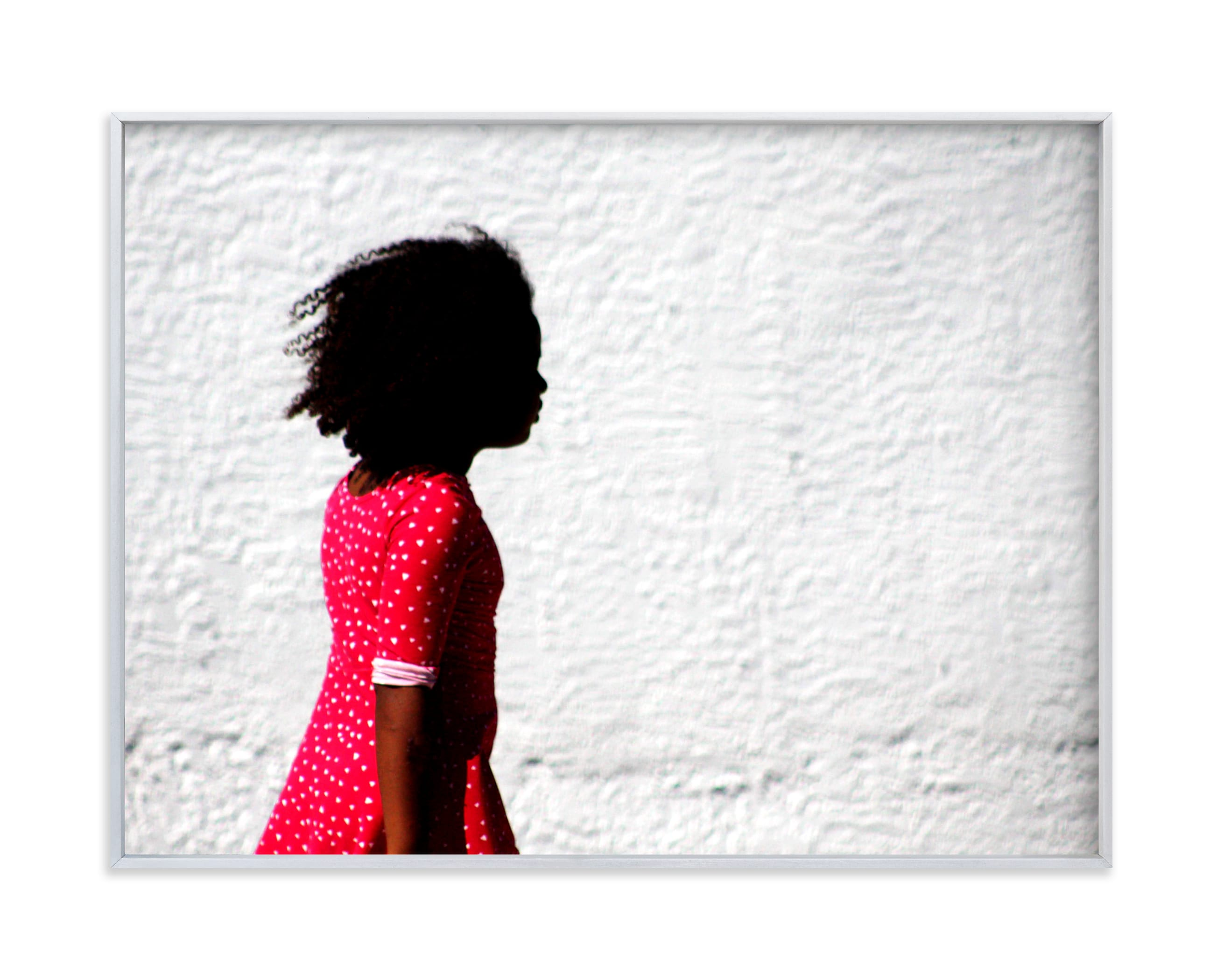 Girl in the red dress. Wall Art Print