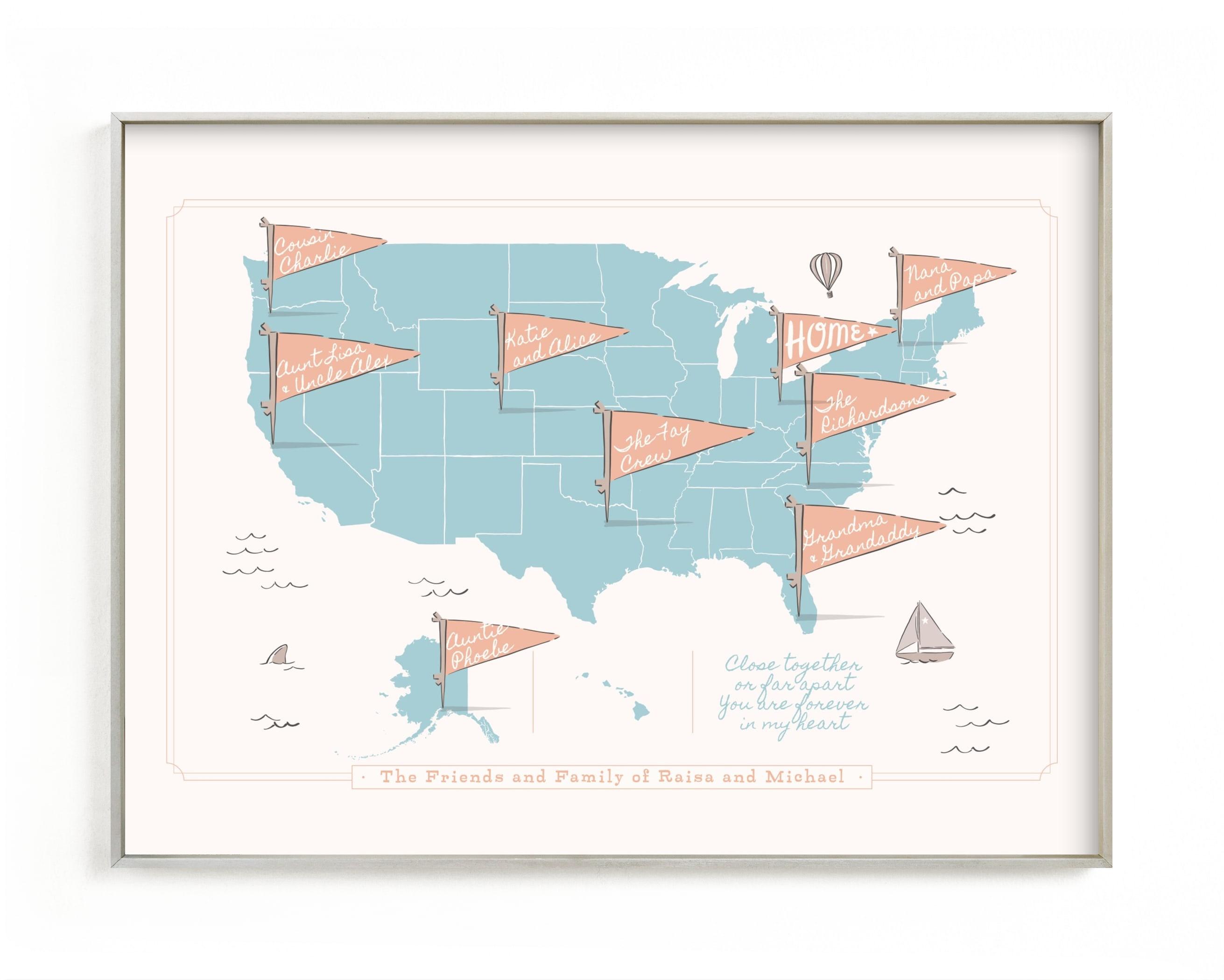 Friends & Family Map Children's Custom Art Print