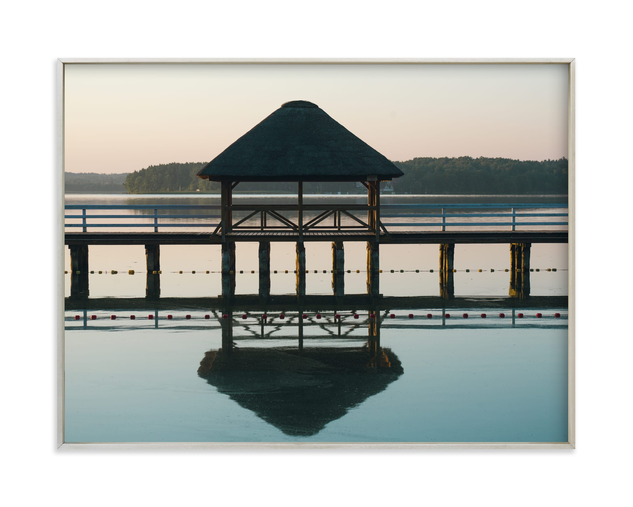 """Sunrise on the lake"" by Lying on the grass in beautiful frame options and a variety of sizes."