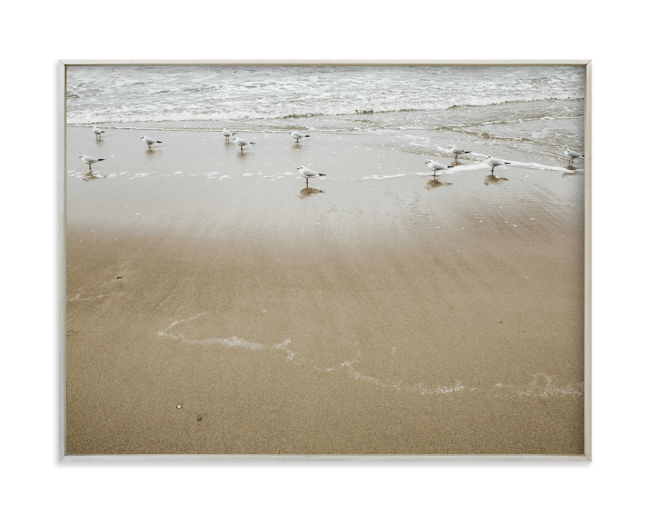 """""""By the sea - Seagulls """" by Lying on the grass in beautiful frame options and a variety of sizes."""