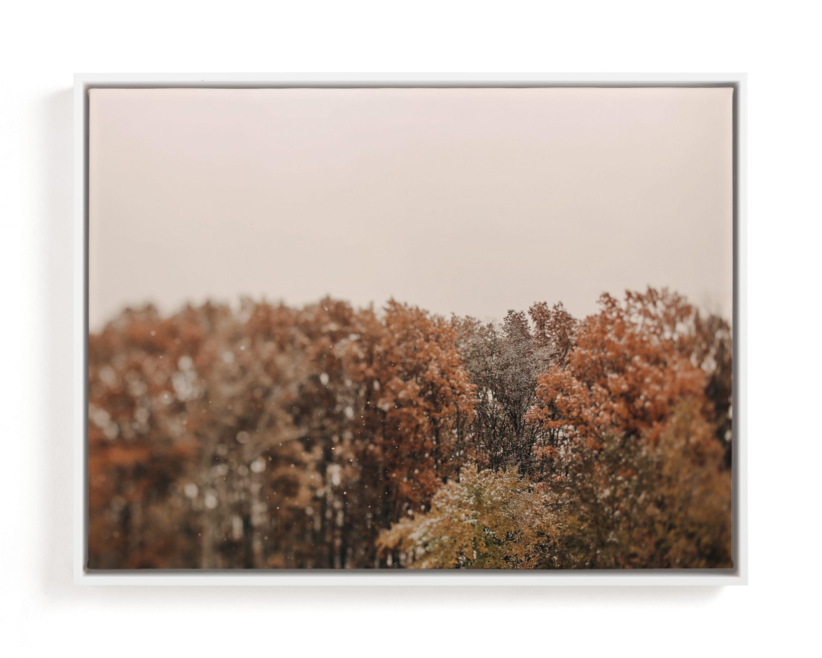 Oak Leaves and Snowflakes Art Print