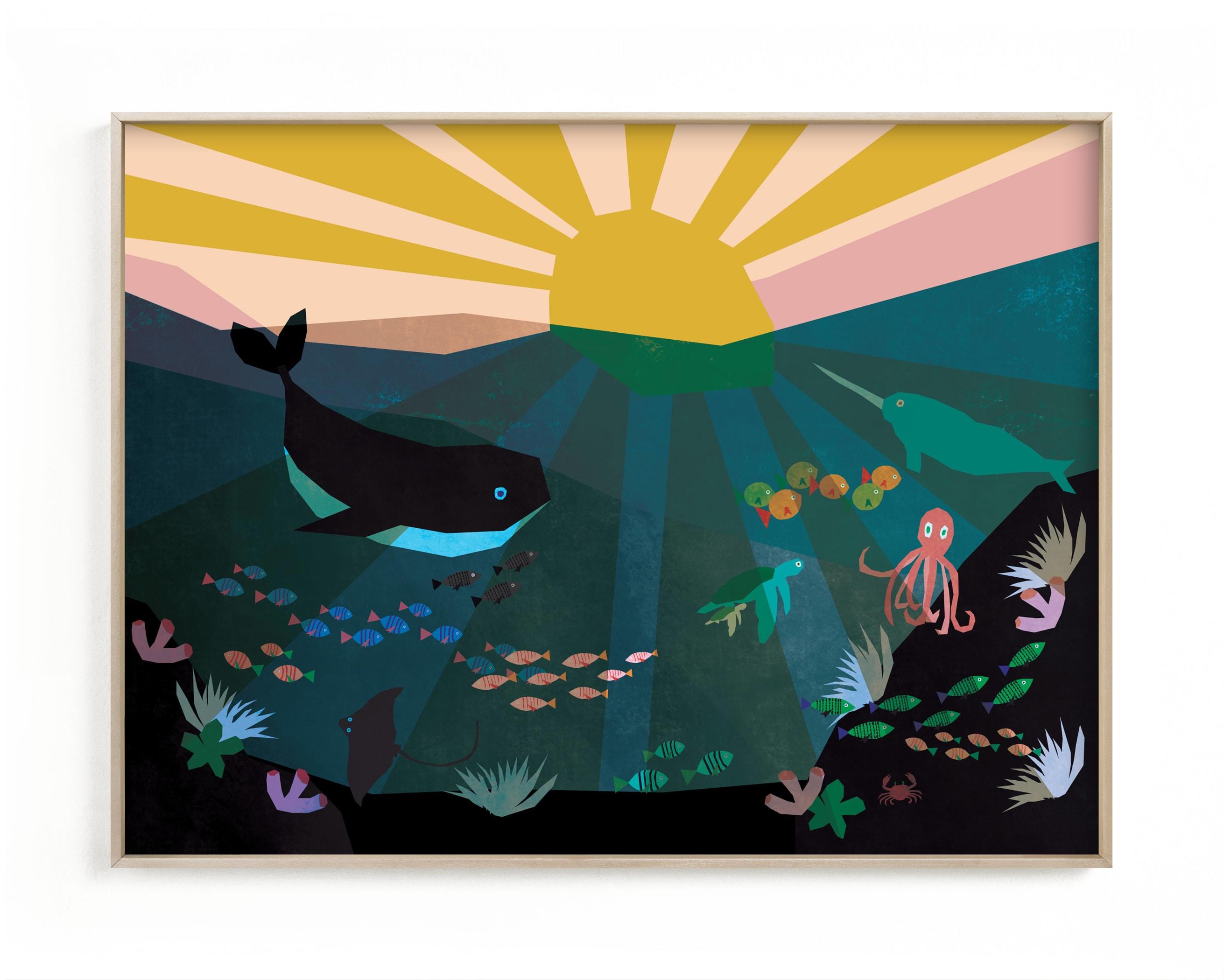 Underwater Sunset Children's Art Print