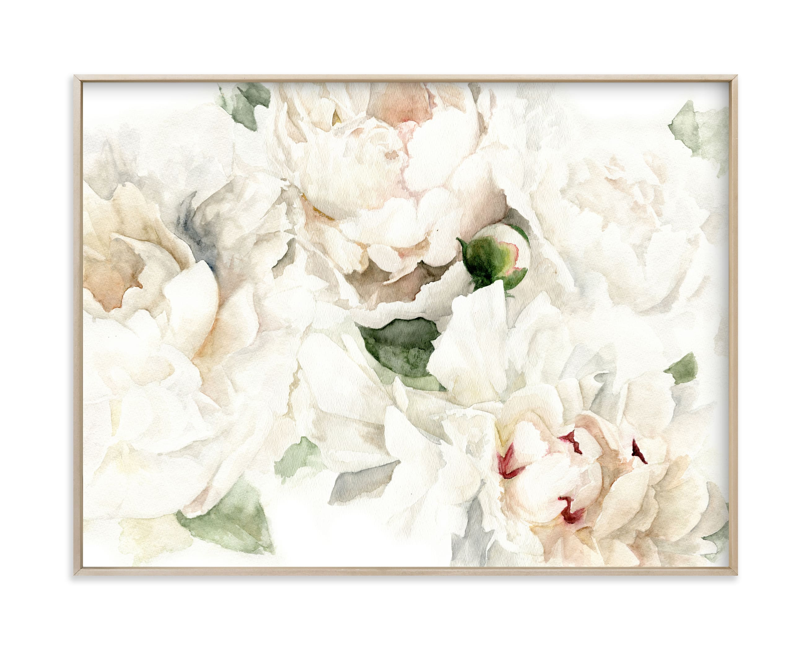 """Bushel of Ivory Peonies"" by Jess Blazejewski in beautiful frame options and a variety of sizes."