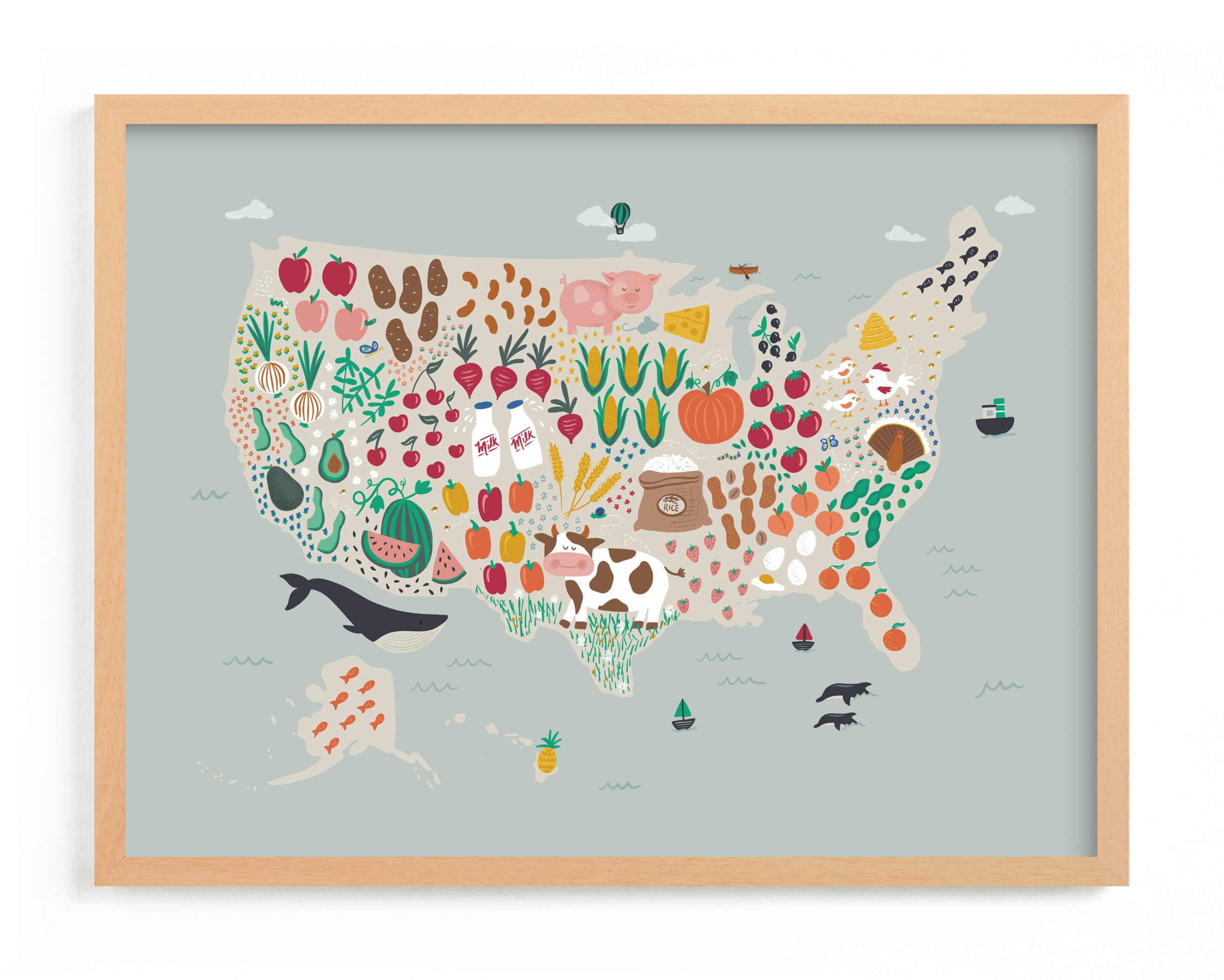 """US Agriculture"" - Limited Edition Art Print by Joanna Griffin in beautiful frame options and a variety of sizes."