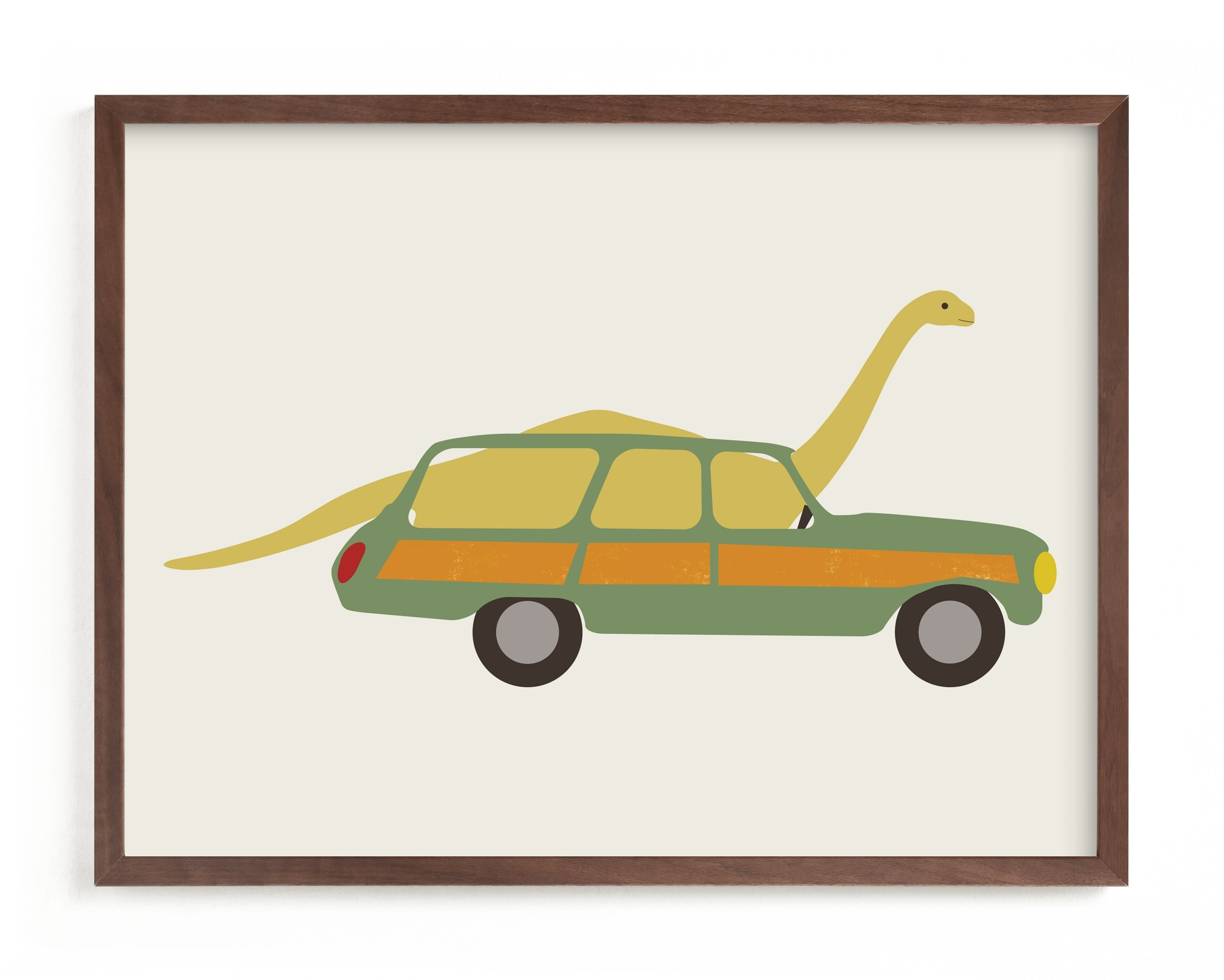 """""""Driving Apatosaurus"""" - Limited Edition Art Print by Morgan Kendall in beautiful frame options and a variety of sizes."""