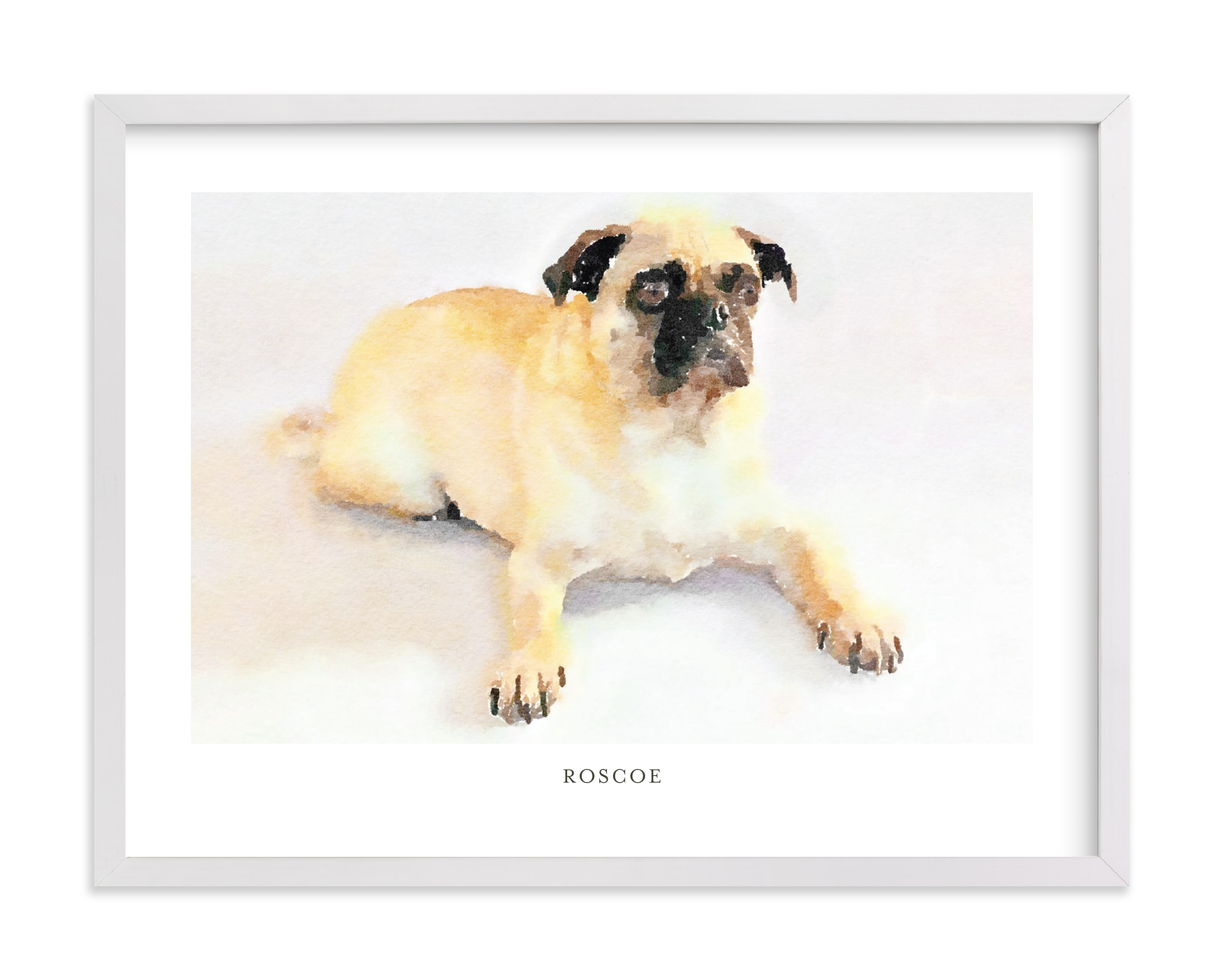 Custom Pet Portrait with Text -Landscape Your Drawing As Art Print