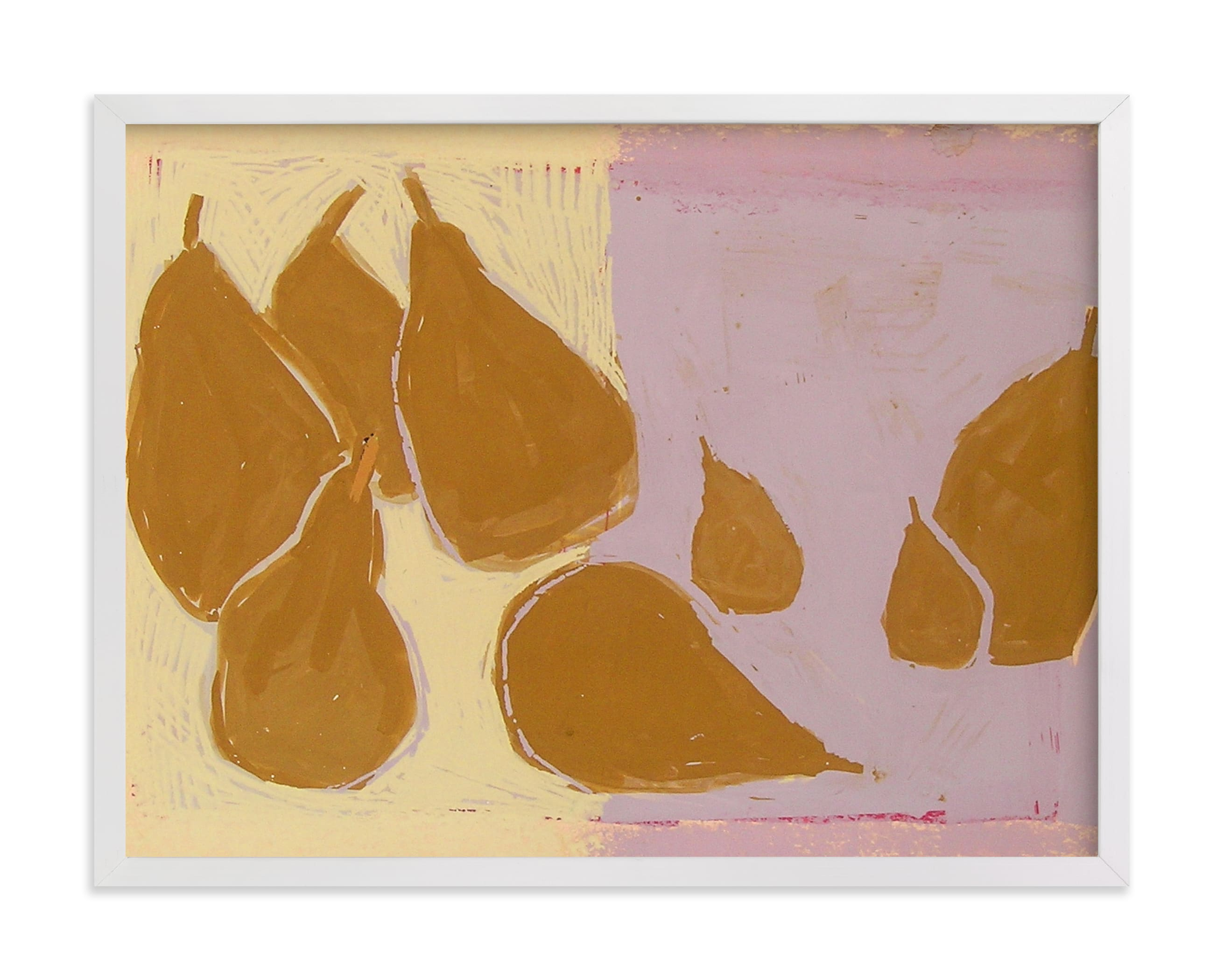 This is a yellow art by Liz Innvar called Bosc pears.