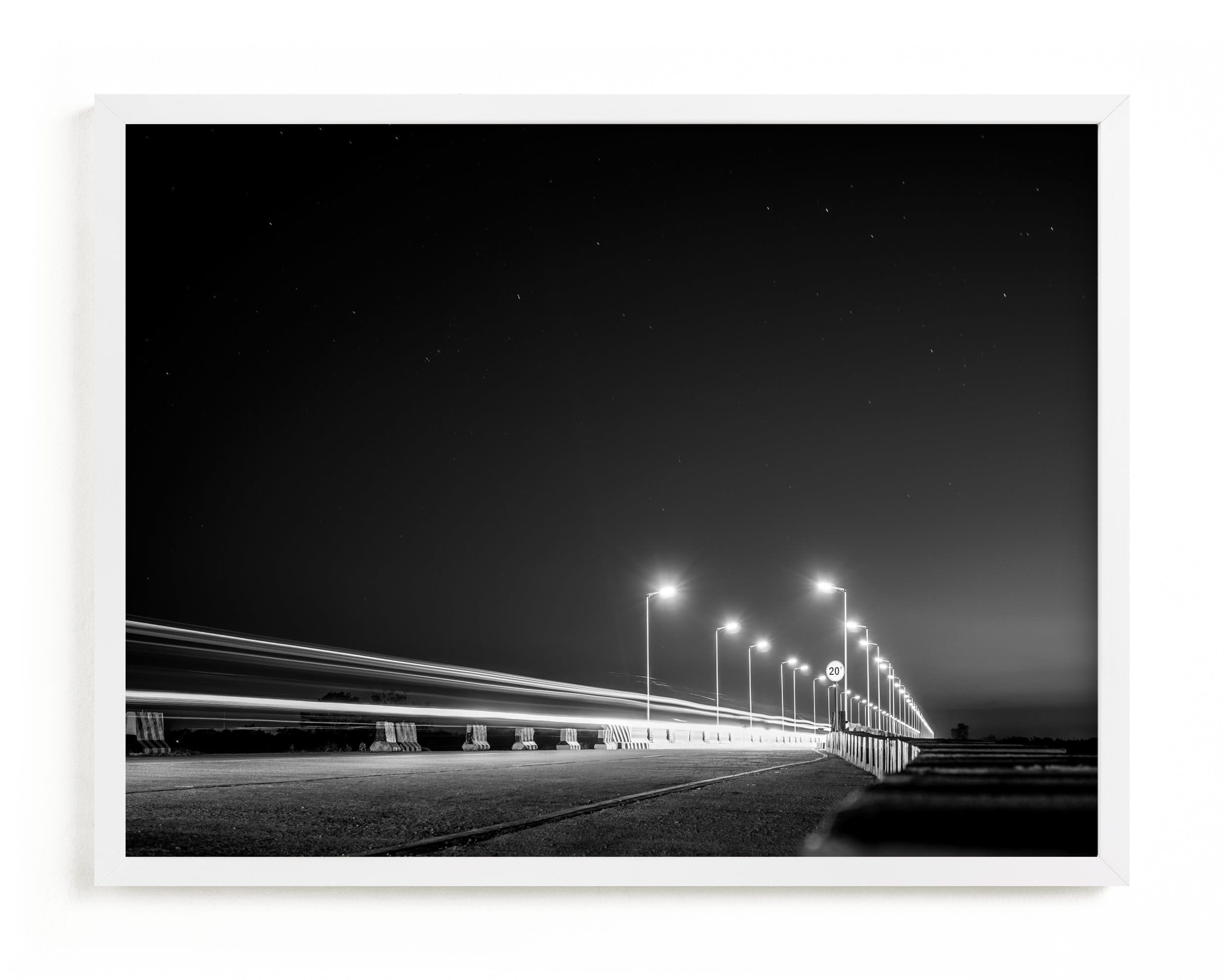 This is a white art by Christian Fernandez called The Fast Bridge.