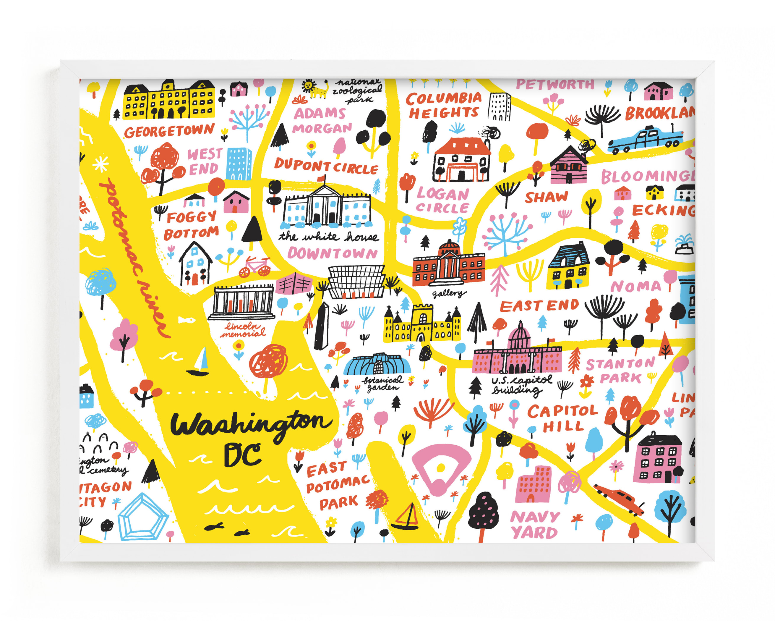 """""""I Love Washington D.C."""" - Limited Edition Art Print by Jordan Sondler in beautiful frame options and a variety of sizes."""
