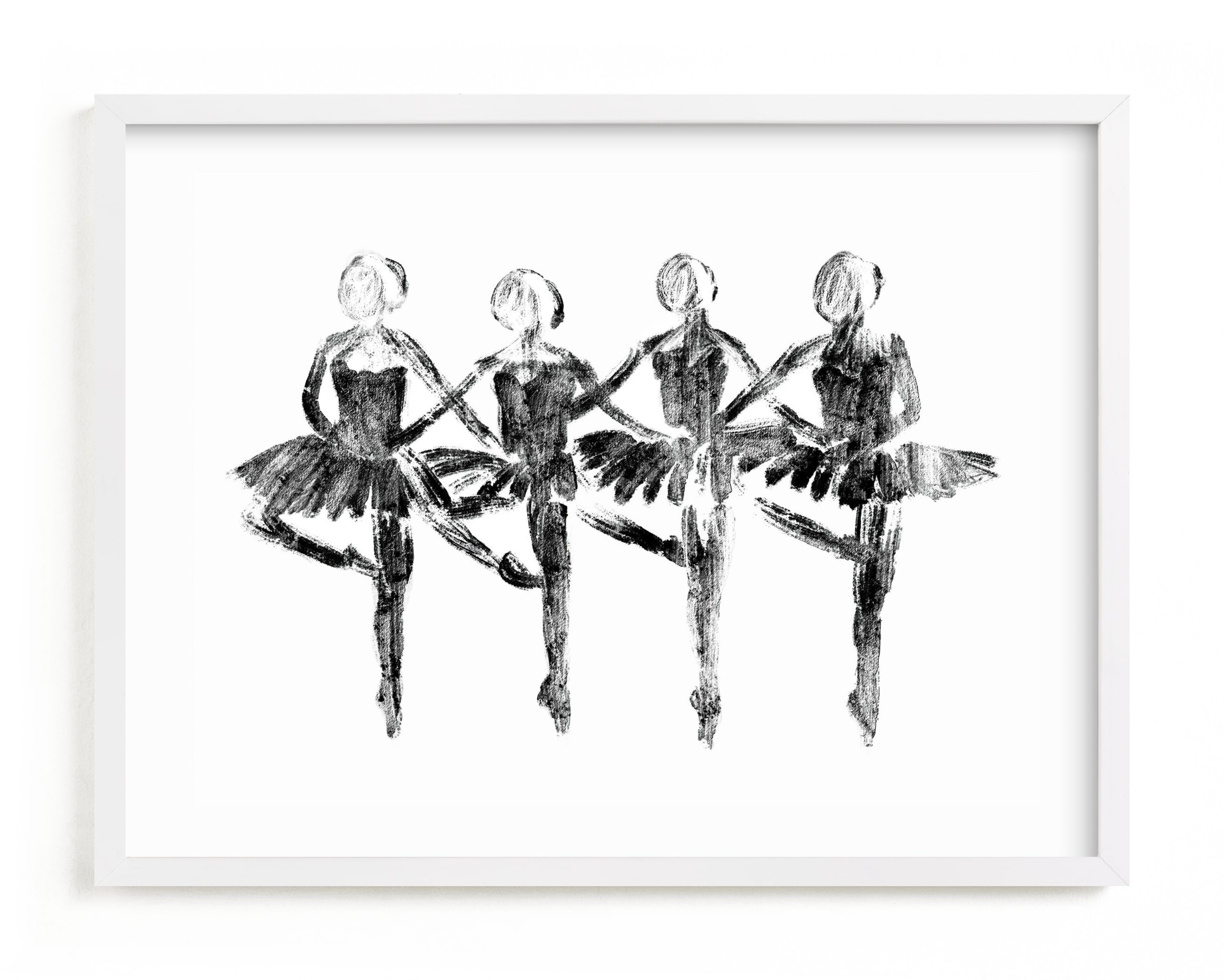 This is a black and white kids wall art by Leanne Friedberg called Les Cygnets.