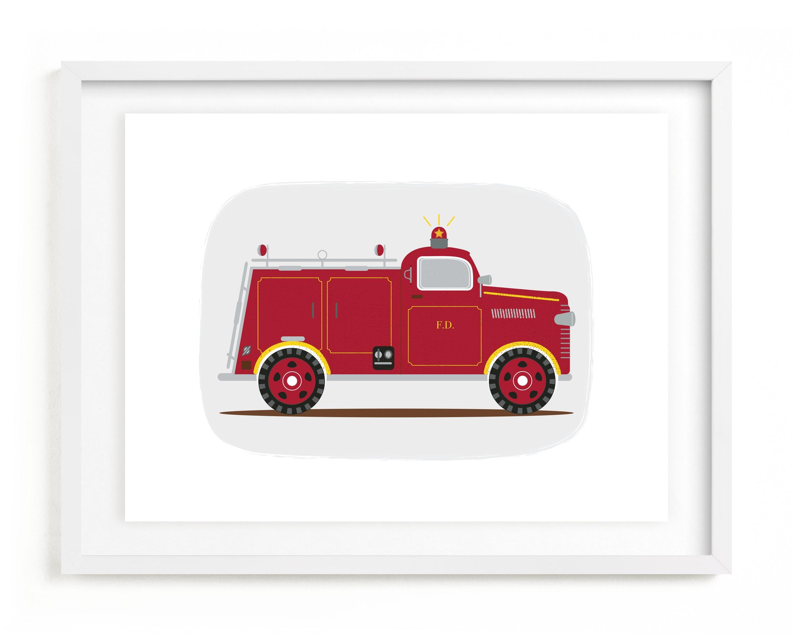 Red Fire Engine #1 Children's Art Print