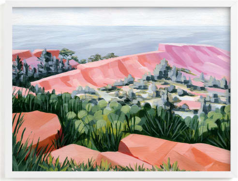 This is a colorful art by Paper Sun Studio called Coastal Cliffs.