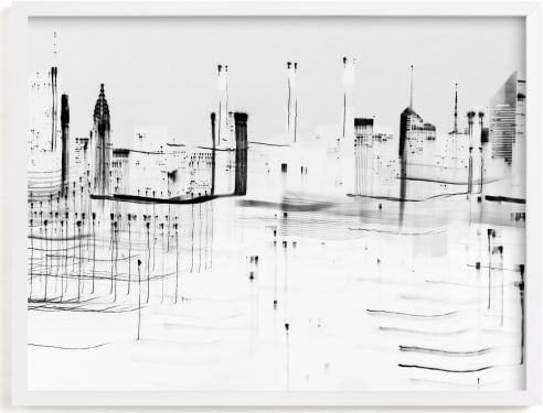This is a black and white art by Kaitlin Rebesco called nyc night lights .