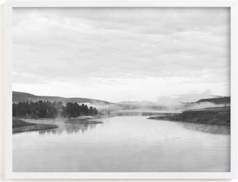 This is a black and white art by Kamala Nahas called Misty lake.