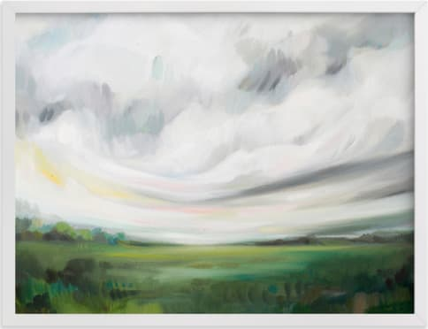 This is a white art by Emily Jeffords called Mornings Away.