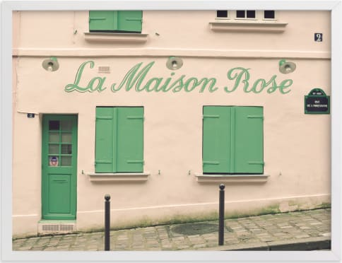 This is a pink art by Caroline Mint called La Maison Rose.