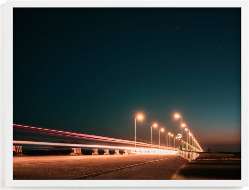 This is a blue art by Christian Fernandez called The Fast Bridge.