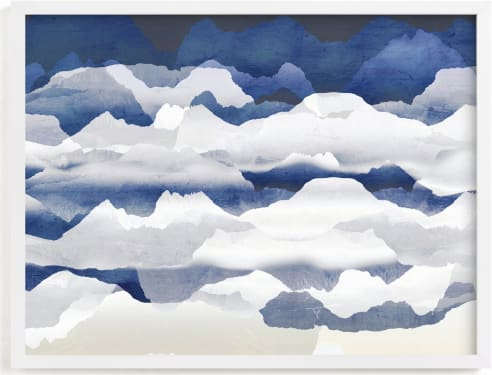 This is a blue art by Oana Prints called Metallic mountain silhouette.