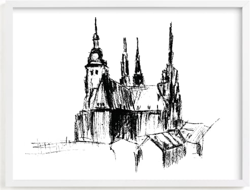 This is a black and white art by Anastasia Makarova called Prague.