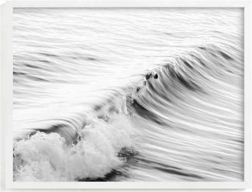 This is a black and white art by Lisa Sundin called Cayucos Soft Waves .