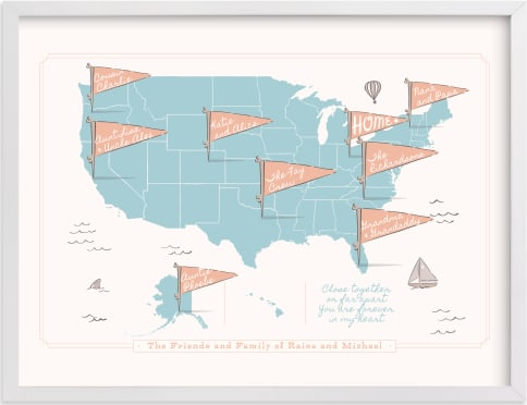 This is a blue personalized art for kid by Kelsey Mucci called Friends & Family Map.
