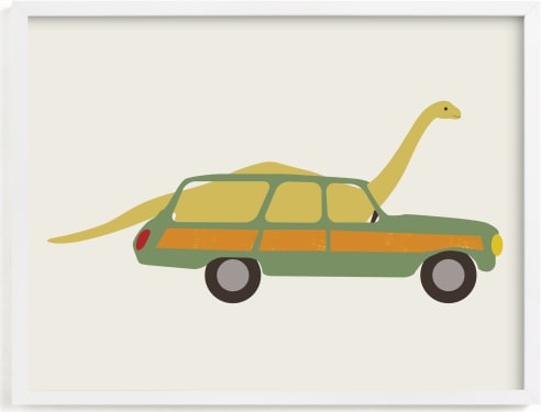 This is a colorful kids wall art by Morgan Kendall called Driving Apatosaurus.