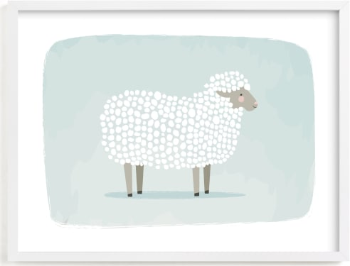 This is a blue kids wall art by Karidy Walker called woolly sheep.