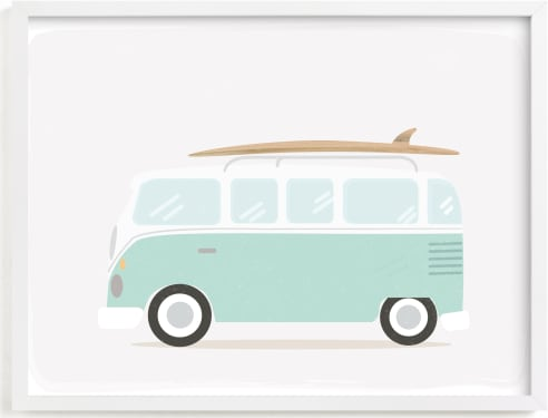 This is a blue kids wall art by Itsy Belle Studio called Beach Bus.