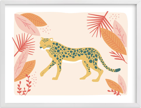 This is a pink kids wall art by peetie design called speedy cheetah.