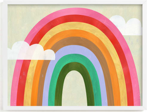 This is a colorful kids wall art by melanie mikecz called Rainbow & Clouds.