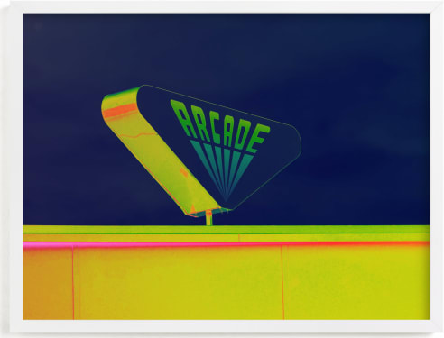 This is a blue kids wall art by Kaitlin Rebesco called Arcade.