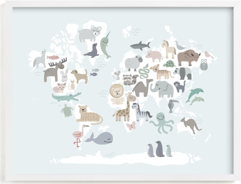 This is a blue art by Jessie Steury called Wild World Map.