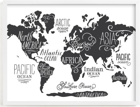 This is a black and white kids wall art by Jessie Steury called Wild Worldwide Map.