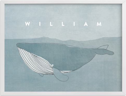 This is a blue nursery wall art by Lucrecia called Sweet Whale.