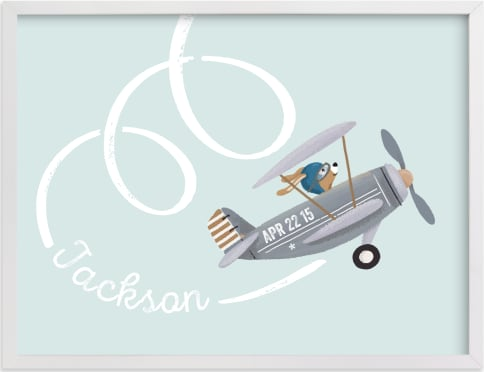 This is a blue nursery wall art by Aaelia Creative Lab. called aerobatics.