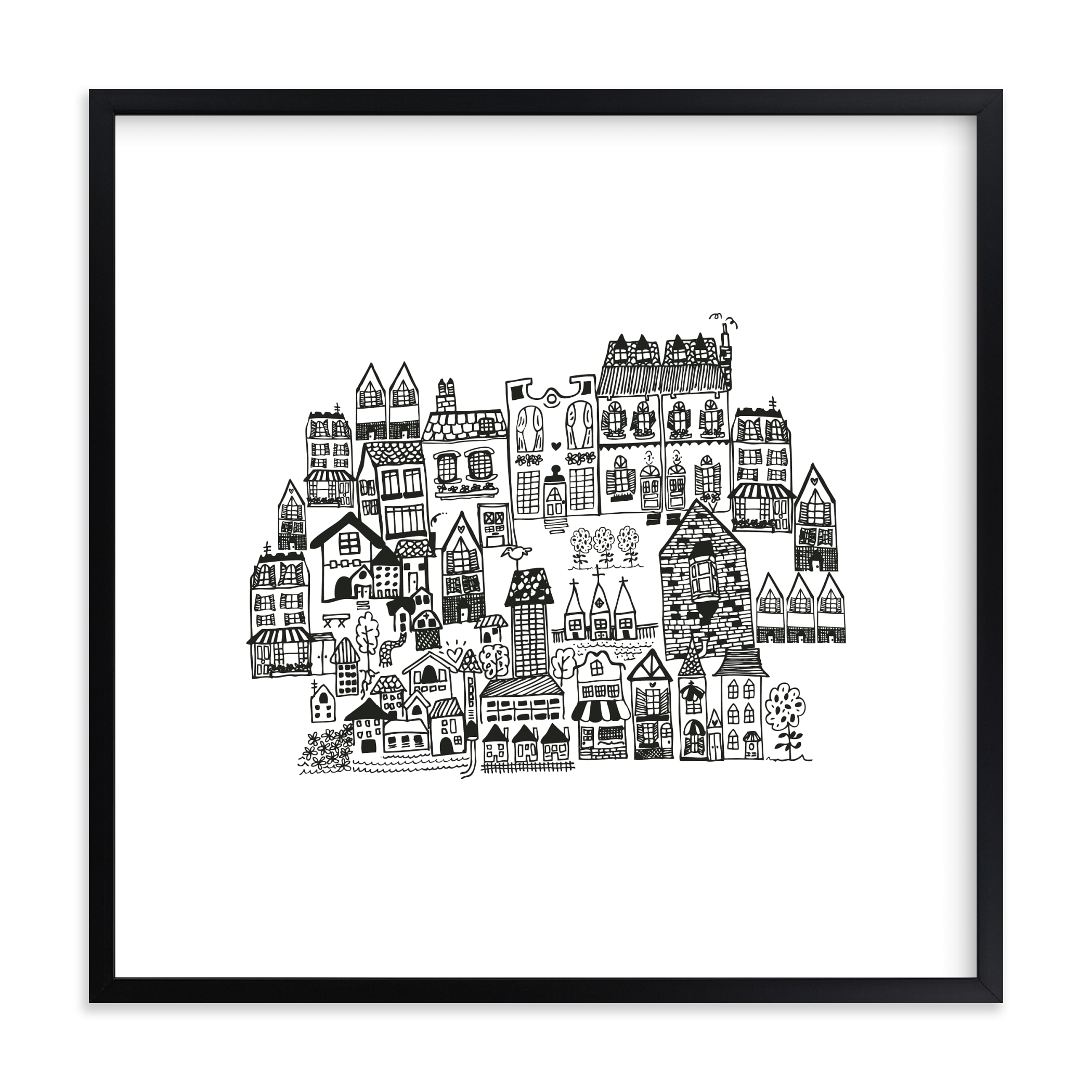 """""""Little houses on a hillside"""" - Limited Edition Art Print by Phrosne Ras in beautiful frame options and a variety of sizes."""