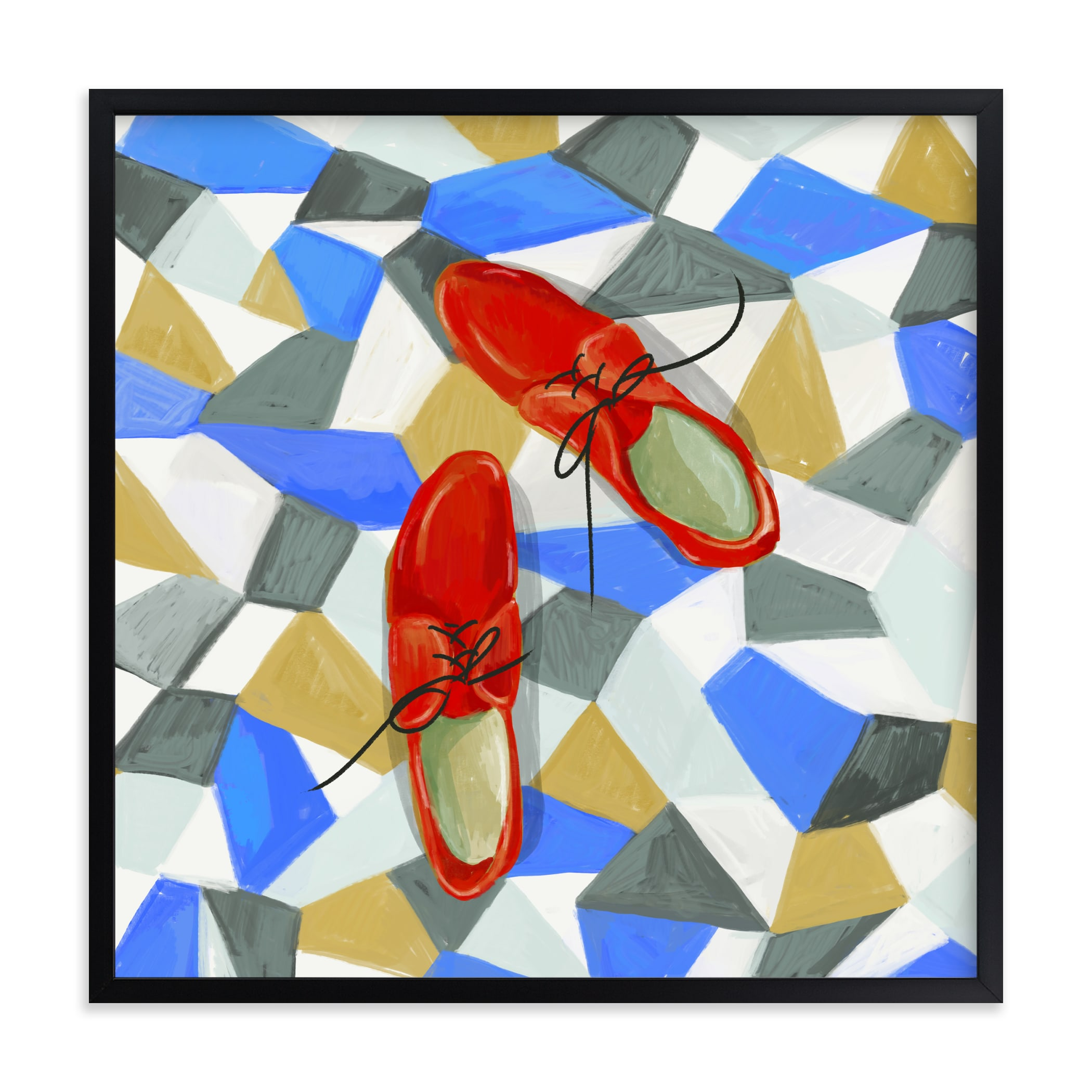 """""""Shoes on tile"""" - Limited Edition Art Print by Zoe Pappenheimer in beautiful frame options and a variety of sizes."""