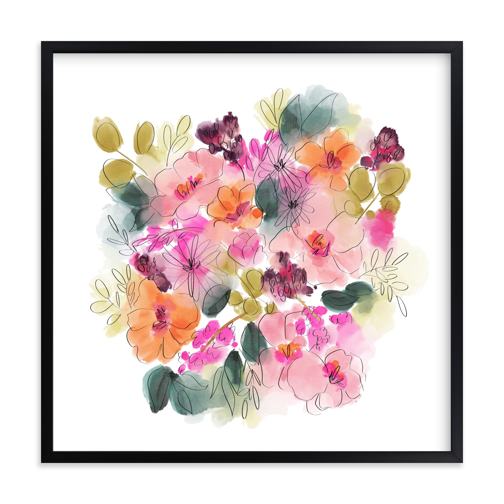 """""""Bouncing Blooms"""" by Britt Mills in beautiful frame options and a variety of sizes."""