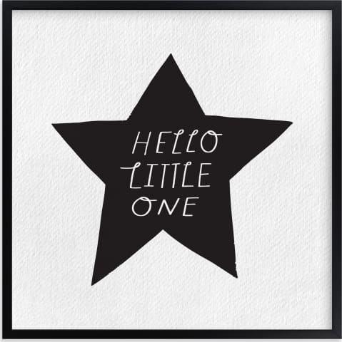 This is a black and white nursery wall art by Little Miss Missy called Hello Little One.