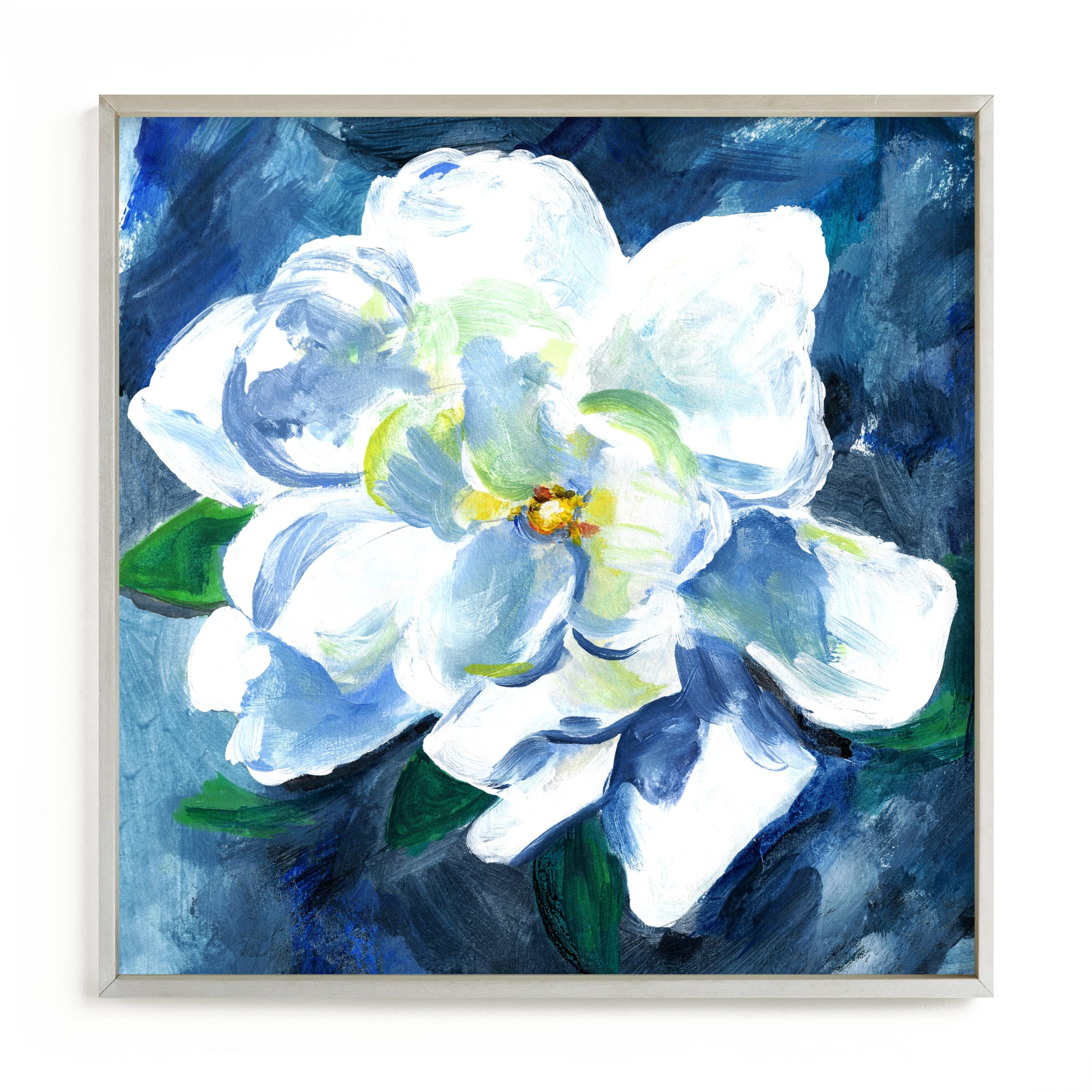"""""""Gardenia in Blue"""" by Jenny Partrite in beautiful frame options and a variety of sizes."""
