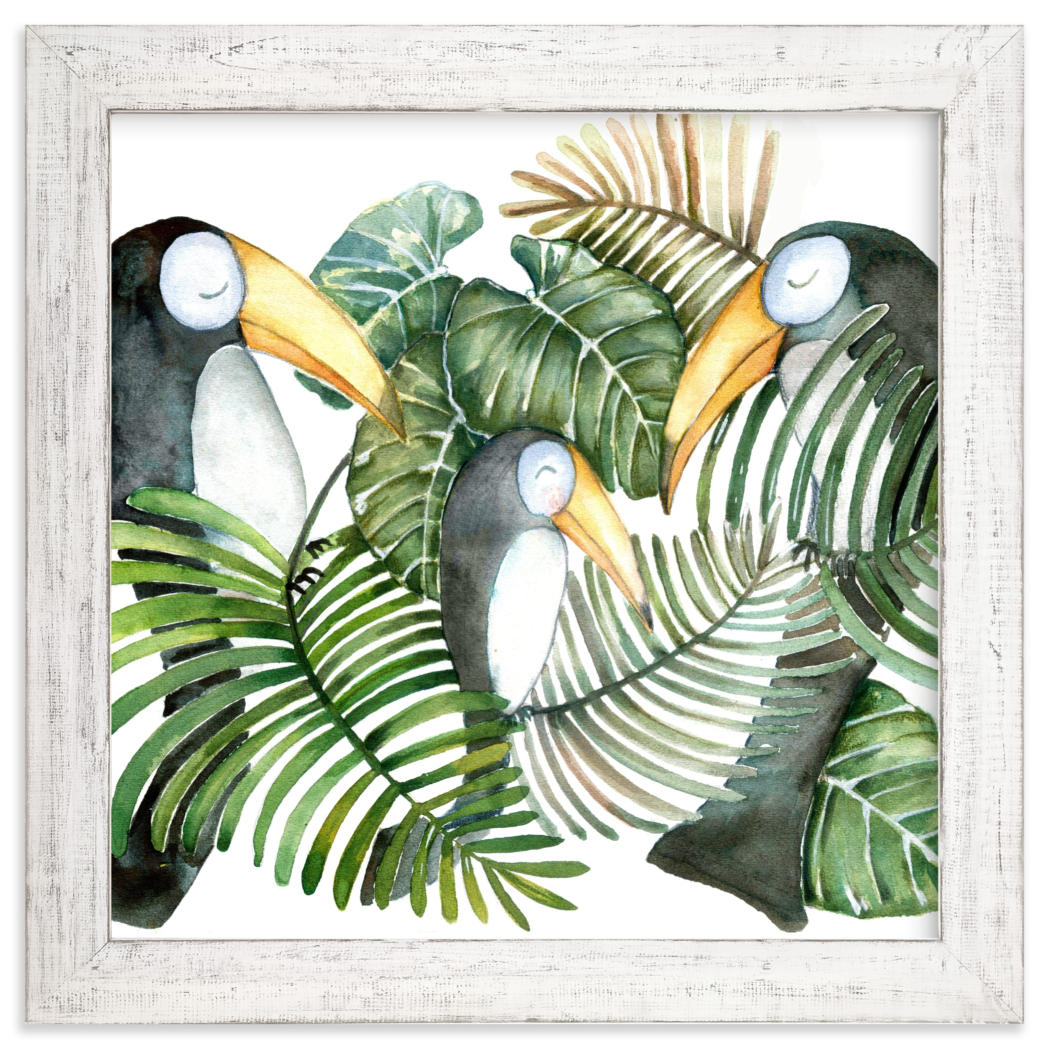 """""""Toucan jungle family"""" - Limited Edition Art Print by Lulaloo in beautiful frame options and a variety of sizes."""