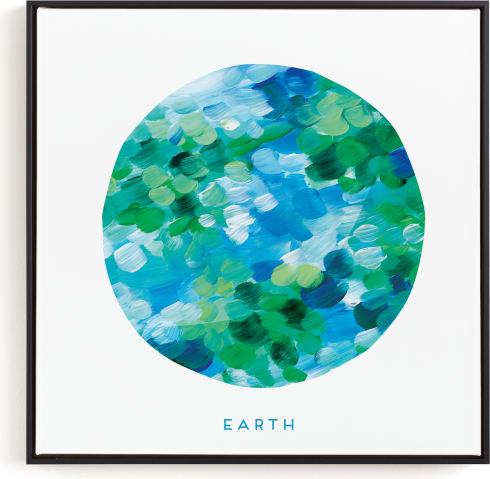 This is a blue kids wall art by Holly Whitcomb called Painted Earth.