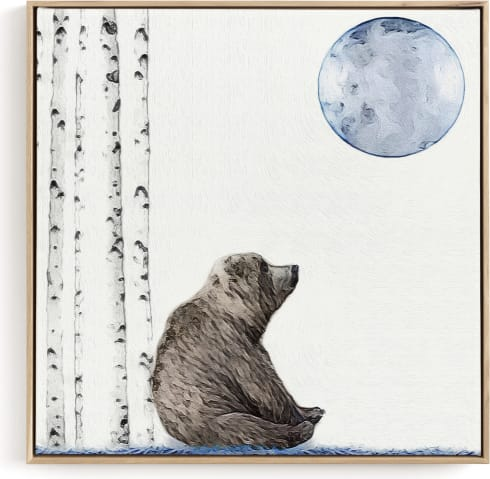 This is a blue kids wall art by Maja Cunningham called Once upon a blue moon.