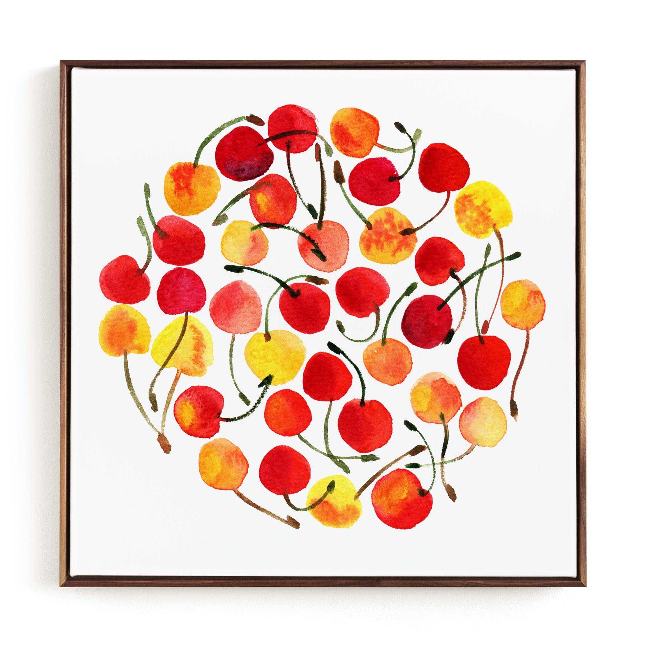whimsical watercolor cherries Children's Art Print