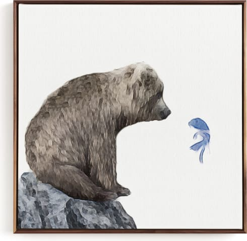 This is a blue kids wall art by Maja Cunningham called Blue Fish Wish.