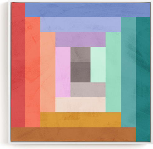 This is a colorful kids wall art by Field and Sky called Modern Quilt Geometric.